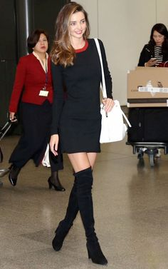 Miranda Kerr Street Style - Black Dress Red Collar
