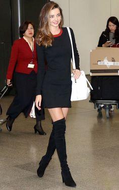 Miranda Kerr Street Style - Black Dress Red Collar