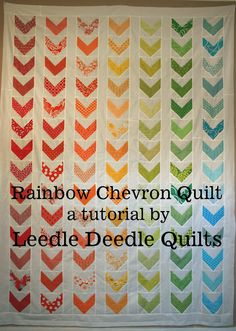 Rainbow chevron twin quilt
