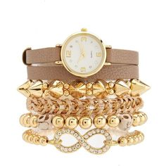 Wrapped Watch & Bracelet 5-Piece Set ($20) ❤ liked on Polyvore featuring jewelry, bracelets, accessories, watches, pulseiras, taupe, cord bracelet, adjustable cord bracelet, chain link bracelet and rhinestone wrap bracelet