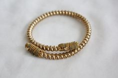 Victorian Coil Bypass Bangle Bracelet Antique 1900s Jewelry Etruscan Bypass