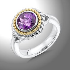Amethyst++Ring+-+A+Sparkly+Sterling+Silver+and+18K+Gold+8+mm+Faceted+Amethyst+Ring.