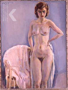 Jan Sluijters  Staand vrouwelijk naakt naast stoel, ca. 1940 Assen, Drents Museum, inv./cat.nr. B2008-0037