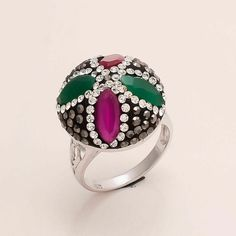 925 Sterling Silver Ring Disco Sparkle Emerald Ruby Gemstone Fashion Jewelry New Handmade Rings, Handmade Jewelry, Jewelry Gifts, Jewelry Design, Designer Jewelry, Natural Emerald, Marcasite, Natural Gemstones, Schmuck Design