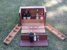 Reclaimed Mahogany and Black Walnut Portable Bar. Showing Interior components.  Crafted by L. Design Reclaimed.