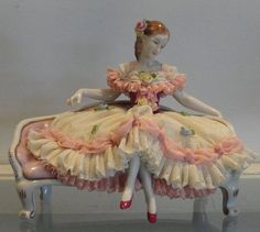 Dresden Porcelain Manufactory (Germany) — Vintage Dresden Lace Figurine w Seated Lady Porcelain Dolls Value, Fine Porcelain, Porcelain Ceramics, Porcelain Tile, Dresden Dolls, Dresden China, Dresden Porcelain, Half Dolls, Ceramic Animals