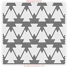 Here's a fun single crochet pattern that mixes geometrical, clean shapes with tribal elements. It's a bit tricky to the eyes, but not at all tricky to crochet. Graphed in black and white, it has a cla… Tapestry Crochet Patterns, Crochet Motifs, Crochet Stitches Patterns, Weaving Patterns, Crochet Chart, Bead Crochet, Filet Crochet, Crochet Designs, Cross Stitch Patterns