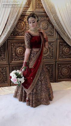 Indian bridal, I bridal makeup, maroon lehenga, velvet lehenganmm