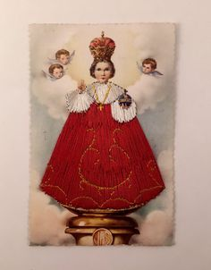 Vintage Postcard, Infant of Prague Embroidered, Made in Spain, Religious Post Card