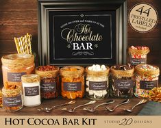 Instant Download Winter Hot Chocolate Bar Kit Printable Gold