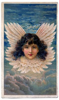 Victorian Graphic - Stunning Angel in Clouds - The Graphics Fairy