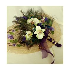 Peacock Feather Wedding Flowers Bridal Bouquet green Orchids   AmoreBride - Wedding on ArtFire (9.76) found on Polyvore