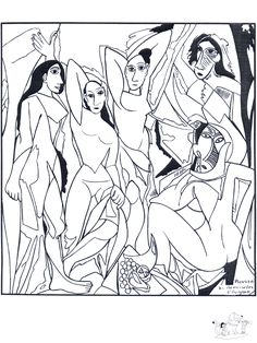 Les Demoiselles d'Avignon, Pablo Picasso: Coloring Page Pablo Picasso, Kunst Picasso, Art Picasso, Colouring Pages, Adult Coloring Pages, Coloring Books, Art Espagnole, Creation Art, Spanish Art