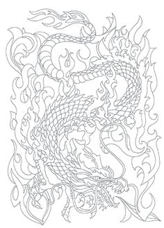 TATTOO+DRAGON--Coloring-Coloring+cards-3.95