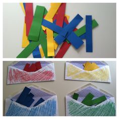 take four envelopes, and color them red, yellow, green, and blue. Then take the same colors of construction paper, cut into strips, and have your child organize the paper into the correct envelope. This activity helps with color recognition, and motor skills.
