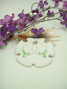 Light sage green crystal wedding and bridal party earrings by CherryBlossomMuse, $8.99