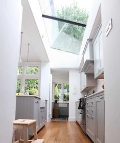 From Design Sponge, beautiful kitchen skylight (sky ceiling? Kitchen Interior, Kitchen Inspirations, House Design, House, Interior, Home, White Cabinetry, Home Kitchens, Kitchen Extension