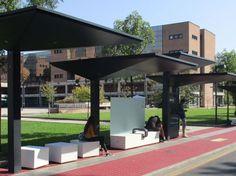 Modular shelters waiting bus GPDUE | Porch for bus stop by Metalco Bus Stand, Bus Shelters, Shelter Design, Shed Design, Smart City, Urban Furniture, Reggio Emilia, Pavilion, Architecture Design