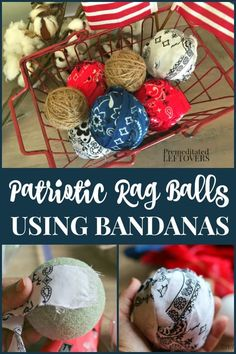 Use this tutorial to make your own red, white, and blue filler rag balls using bandanas. These DIY patriotic rag balls add an Americana touch to your of July decorations. This is a frugal and easy way to decorate for a of July party or another patr Fourth Of July Decor, 4th Of July Decorations, 4th Of July Party, July 4th, Americana Decorations, 4th Of July Celebration, Patriotic Crafts, July Crafts, Holiday Crafts