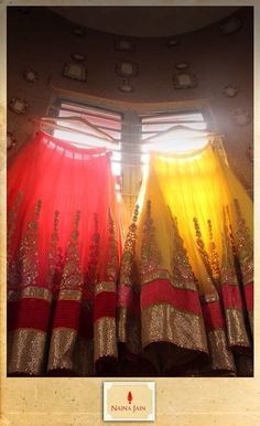 red and yellow lehengas. Maybe bridesmaid lenghas? Indian Bridal Outfits, Indian Dresses, Desi Wedding, Wedding Wear, Indian Attire, Indian Wear, Desi Clothes, Indian Clothes, Indian Princess