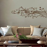 I could make this work somewhere  Live Laugh Love - Swirling Wispy Tree Branch with Flowers - Wall Decals