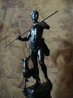 Alois Mayer Bronze Figur 55 cm Historismus 1880 Antike Serpentin - Sockel Jäger