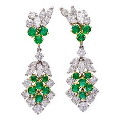 Emerald and Diamond Convertible Gold and Platinum Earrings | From a unique collection of vintage chandelier earrings at https://www.1stdibs.com/jewelry/earrings/chandelier-earrings/