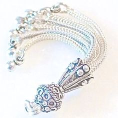 Turkish Sterling Silver Bead Tassel 6.4 gram 55 mm Layer Necklace, Oxidized Sterling Silver, Silver Beads, Tassels, Tassel, Layered Necklace, Fringes