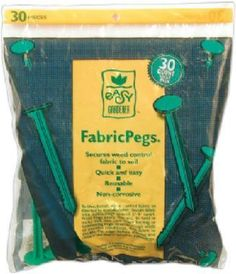 Easy Gardener 813 Fabric Pegs - 30 Pack by Easy Gardener. $5.83. Instant Display Fabric Pegs. Reusable & Non-corrosive. Quick & Easy Installation. Secure Landscape Fabrics To Soil. Such a simple idea can make life so much easier. Our Fabric Pegs press into the soil to ensure that your landscape fabrics stay where they belong. The pegs are a non-corrosive, green plastic. These pegs can also be used for securing burlap and garden nettings.. Save 61%!