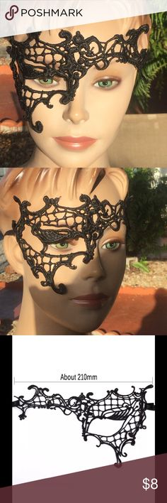Mask sexy masquerade New black New!!!Mask is secured with two quality ribbon ties for easy wear and adjustment.Created with very light-weight quality materials for long hours of comfortable wear.Excellent choice for Prom, Wedding, Fashion Shows, Mardi Gras, Costume, Dance Parties, Mask Events & More Accessories