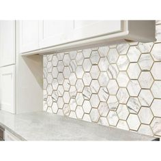 Bianco Orion Brass 6 in. Hexagon Polished Marble Mosaic - 12 x 11 - 100654623 - - Bianco Orion Brass 6 in. Hexagon Polished Marble Mosaic - 12 x 11 - Terrazzo Tile, Marble Mosaic, Mosaic Glass, Marble Tile Bathroom, Mosaic Tiles, Hexagon Backsplash, Hexagon Tiles, Kitchen Backsplash, White Porcelain Tile