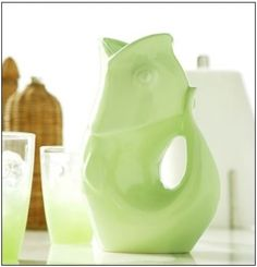 "Pour, Listen, Enjoy!    Add a touch of whimsy to the table with a GurglePot.   Designed with simple, graceful lines and crafted of durable stoneware, this pitcher produces a delightful ""gurgle"" as it serves your favorite beverage.  It is also beautiful as a stand alone decor piece or a vase for fresh cut flowers.     A Mini Gurglepot is also available as a pitcher for one or for as a creamer.    Holds 42 oz.; Size: 9.5""H, 4""W, 6.75""L; Gurgles with or without ice. Dishwasher safe."