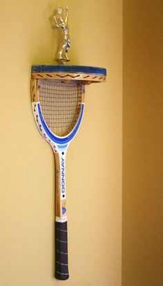 Upcycled Tennis Racquet Wall Trophy & Awards Display Shelf - JUNKMARKET Style