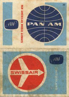 Vintage match box labels - Airlines