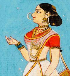 Danseuse, Thanjaver. 1800's Mughal Paintings, Madhubani Painting, Indian Art Paintings, Paintings I Love, Village Drawing, Art Village, Art Indien, Indian Traditional Paintings, Indian Drawing