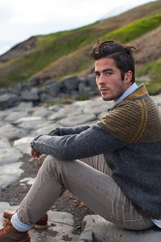 """Choose two colors and cast on for this simple top down raglan pullover. The back neck is raised with short row shaping in a contrasting color. The yoke is worked in stripes with slipped stitches along the raglan increase lines. Striped ribbing at the cuffs and bottom edging echoes the colorful yoke.Sample is shown in Large with 4"""" / 10cm of positive ease. Sweater is intended to fit with 2-4"""" / 5-10cm of positive ease.Sample is in: Brooklyn Tweed SHELTER. Other listed yarns..."""