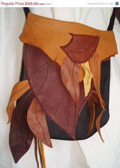 ON SALE Wood Elf  Leather Leaf Bag