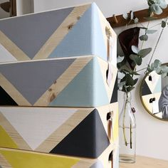 Geometric wooden box with handles – Wooden storage – Toy box – Office storage – Kitchen storage – Storage idea – Organizer – Wooden crate - Wood Crates Shipping Wooden Apple Crates, Wooden Storage Crates, Wooden Organizer, Toy Storage Boxes, Crate Storage, Wood Crates, Toy Boxes, Wooden Boxes, Office Storage