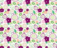 Summer fruit garden tropical flowers passion fruit fig and dragon kiwi pink green - fabric and wallpaper design by Little Smilemakers Studio at Spoonflower