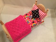 Custom bedding for Barbie. Reversible because sometimes you want stripes and sometimes you don't. Martin Dollhouses. Custom Bedding, Dollhouse Kits, Branding Iron, Barbie Accessories, Barbie Furniture, Kit Homes, Dollhouses, Stripes, Wood