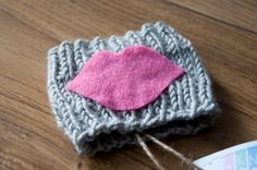 Light Grey Cozy with Pink Kiss Knit Coffee Cozy by KnittingbySengul on Etsy