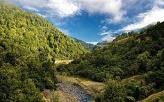 Scarica sfondi ruscello di montagna, pendii di montagne, montagne, foresta, cielo blu, nuova zelanda