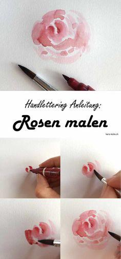 Diese Handlettering Anleitung zeigt dir, wie du ganz einfach mit den Ecoline Brushpens (oder sonstigen Stiften) Rosen und Blumen malen kannst. Eine tolle und einzigartige Verzierung für dein Lettering!