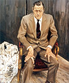 Lucian Freud (1922-2011), Portrait of H. H. Thyssen-Bornemisza (Man in a Chair), 1983-1985, British (born Germany). Oil on canvas. 120.5 x 100.5 cm. Courtesy of Thyssen-Bornemisza Collections, Lugano, Switzerland; licensed by Omniarte GmbH, Zurich, Switzerland.