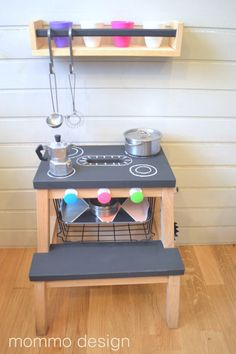 IKEA's Bekvam step stool is cute, portable, and very hackable! Here are 12 Bekvam step stool hacks to show you how adaptable the popular IKEA stool can be! Bekvam Ikea, Bekvam Stool, Diy Play Kitchen, Mini Kitchen, Toddler Kitchen, Play Kitchens, Kitchen For Kids, Kitchen Stove, Toy Kitchen