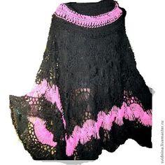 Купить пончо Розовое на черном - чёрный, пончо вязаное, пончо крючком, однотонный, большой размер