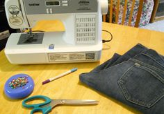 Transforming old jeans into skinny jeans,