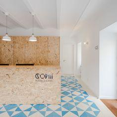 Image 15 of 37 from gallery of Hostel CONII / Estudio ODS. Photograph by João Morgado Cafe Interior, Office Interior Design, Hotel Interiors, Office Interiors, Clinic Design, Suites, Commercial Interiors, Retail Design, Store Design
