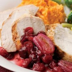 "Turkey Tenderloin with Cranberry-Shallot Sauce Recipe | Review Comment: ""This is by far one of the best recipes I have ever had!! The turkey tenderloins are so tender. This is easy, quick and heavenly. guests would think it took hours, but not the case."" 