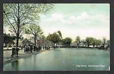 PECKHAM RYE, THE POND, SOUTHWARK, LONDON, 1907 VINTAGE PRINT POSTCARD, USED